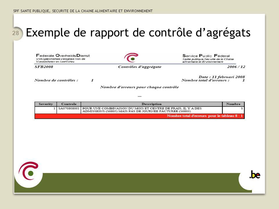 Exemple de rapport de contrôle d'agrégats