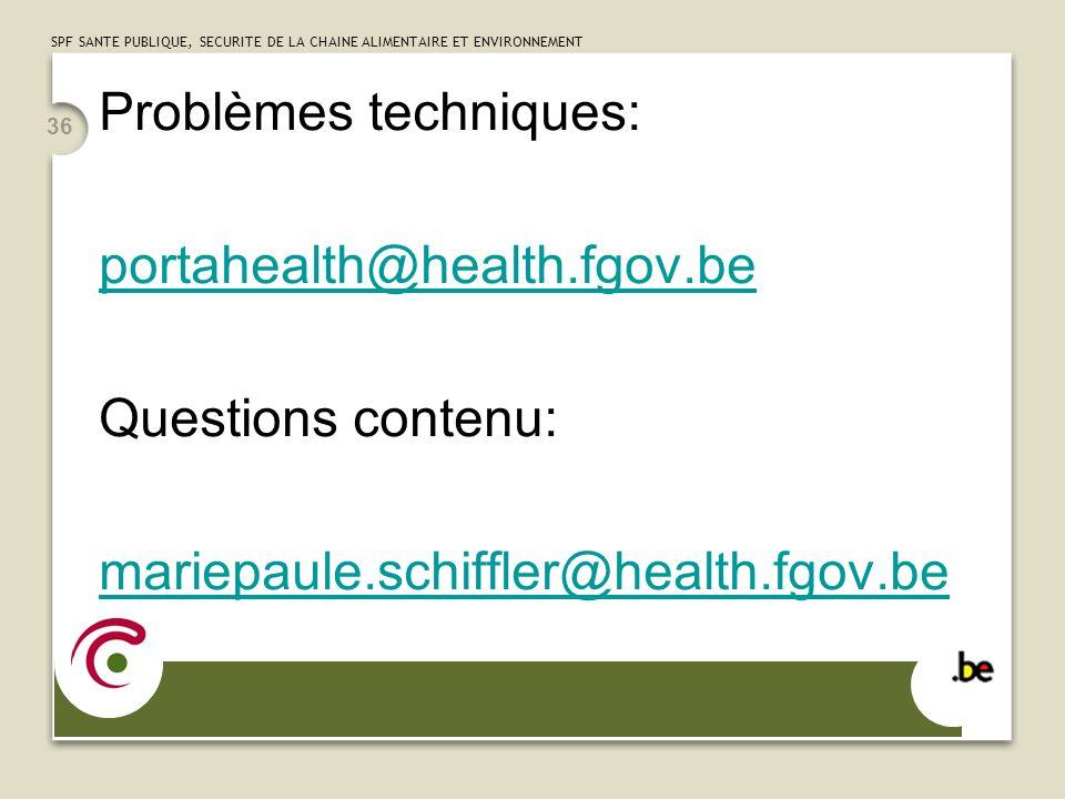 Problèmes techniques: