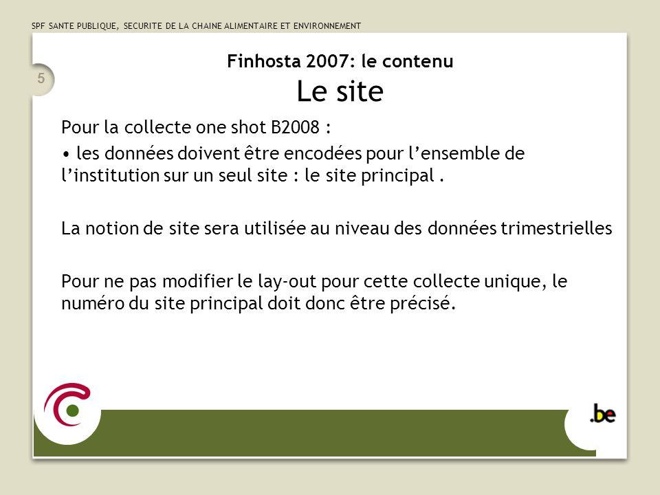 Finhosta 2007: le contenu Le site