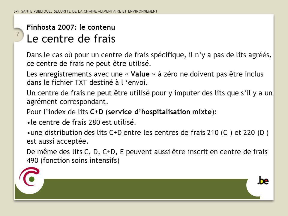 Finhosta 2007: le contenu Le centre de frais