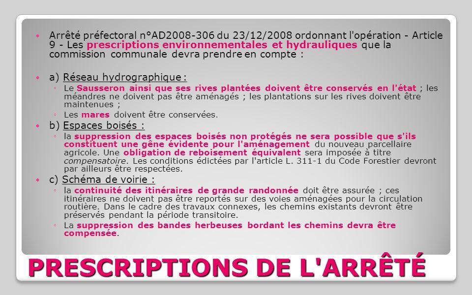 PRESCRIPTIONS DE L ARRÊTÉ
