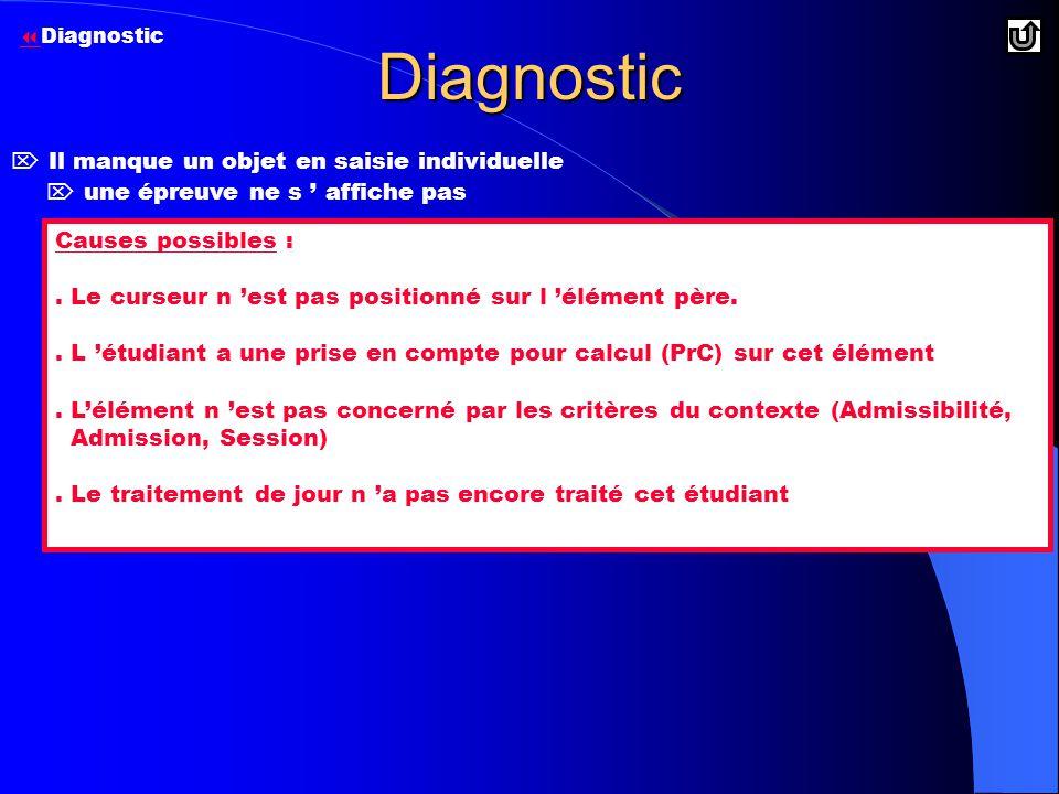 Diagnostic  Il manque un objet en saisie individuelle