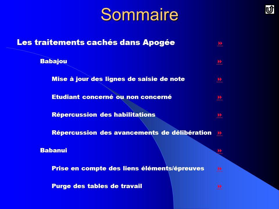 Sommaire Les traitements cachés dans Apogée  Babajou 