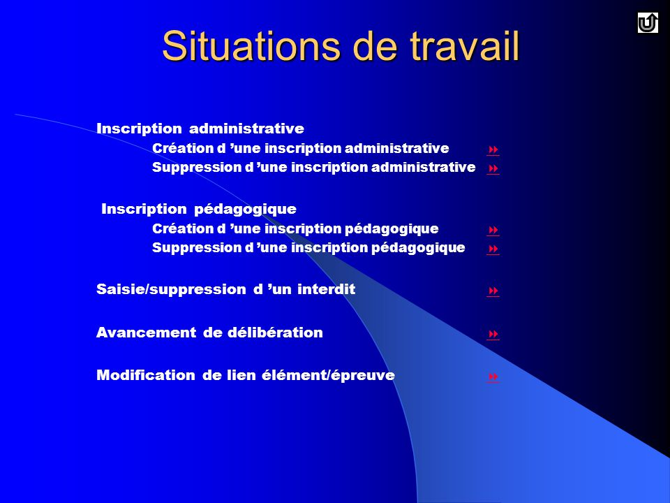 Situations de travail Inscription administrative
