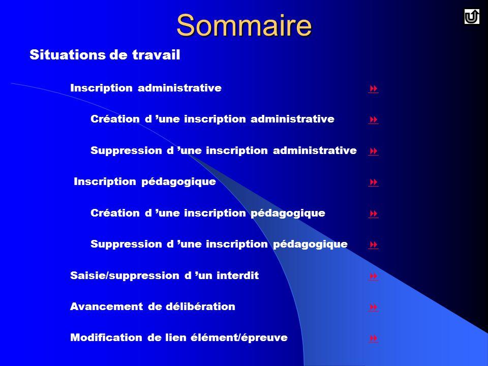 Sommaire Situations de travail Inscription administrative 