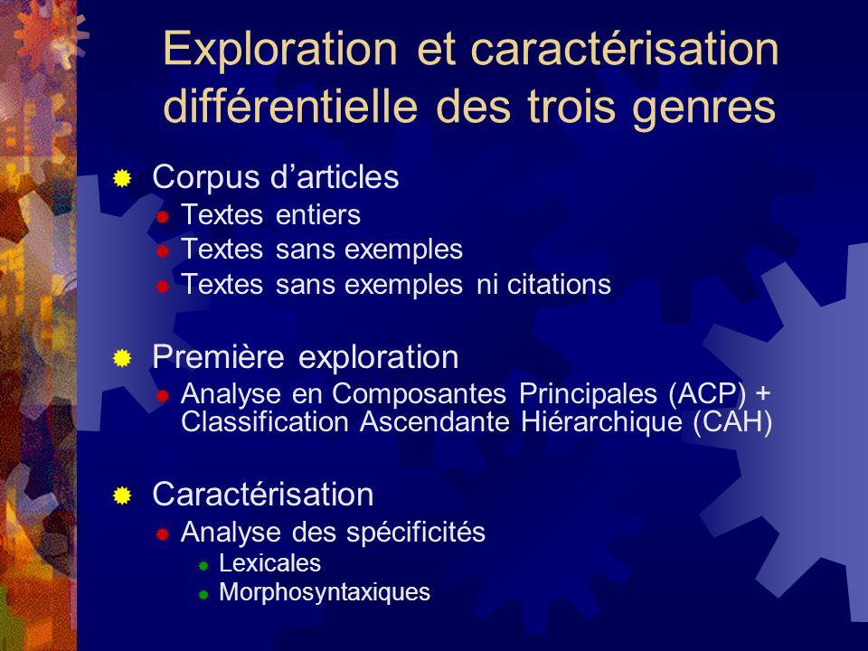Exploration et caractérisation différentielle des trois genres