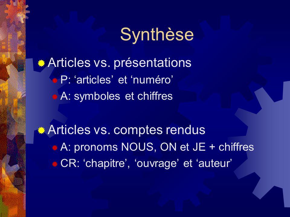 Synthèse Articles vs. présentations Articles vs. comptes rendus