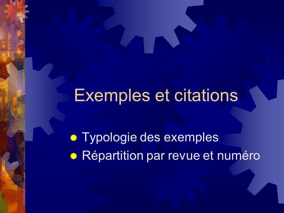 Typologie des exemples Répartition par revue et numéro