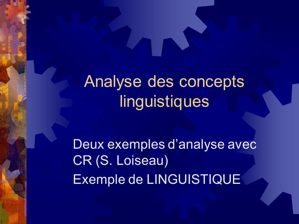 Analyse des concepts linguistiques