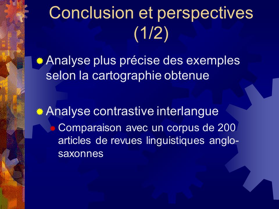 Conclusion et perspectives (1/2)