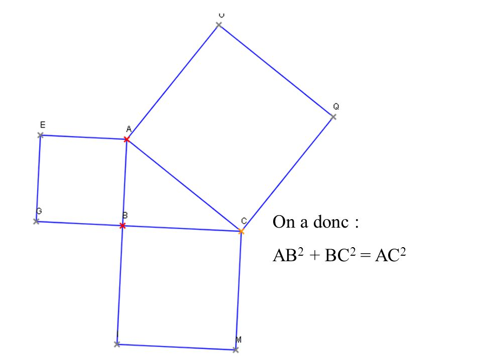 On a donc : AB2 + BC2 = AC2