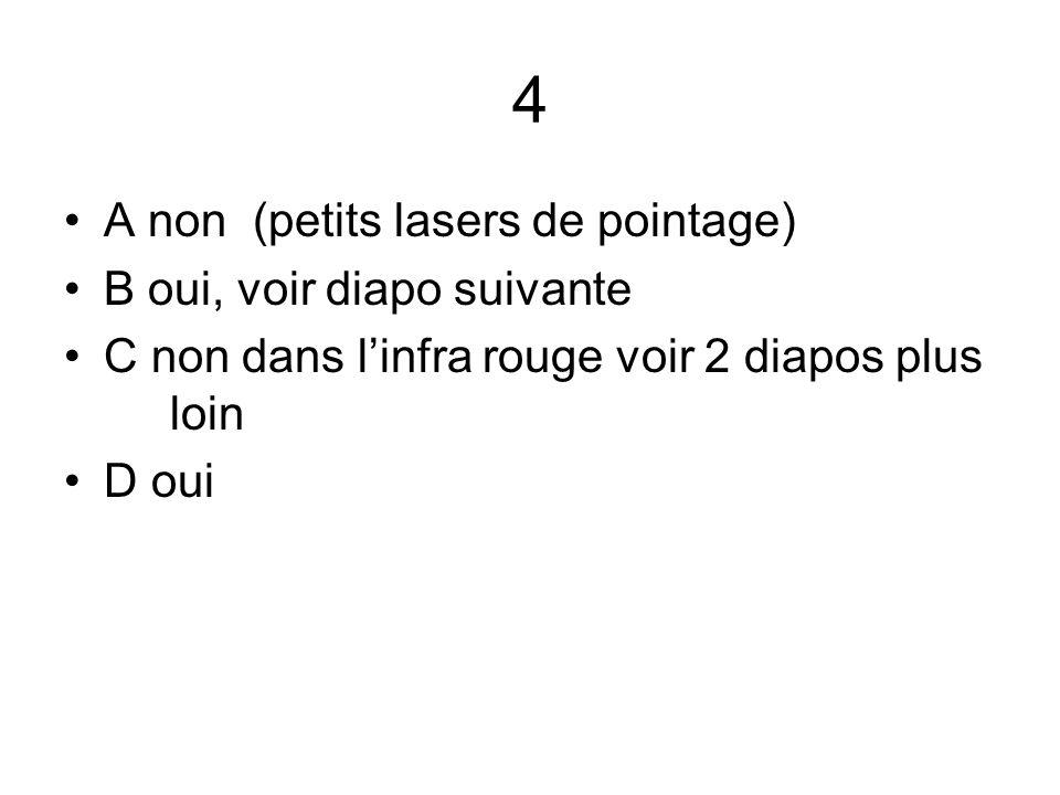 4 A non (petits lasers de pointage) B oui, voir diapo suivante