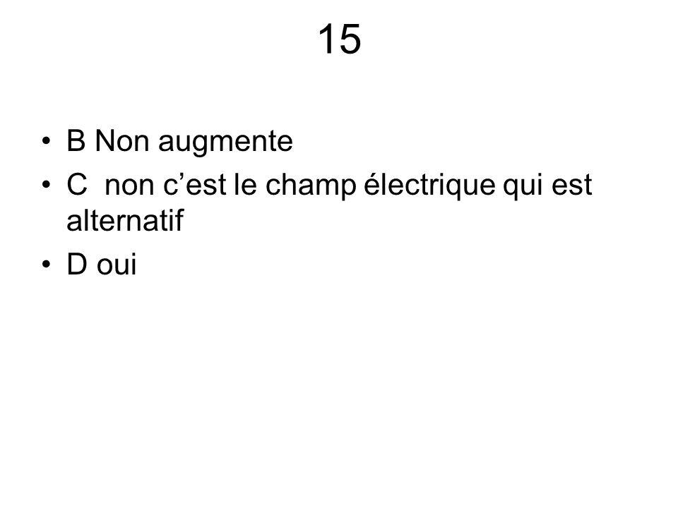 15 B Non augmente C non c'est le champ électrique qui est alternatif