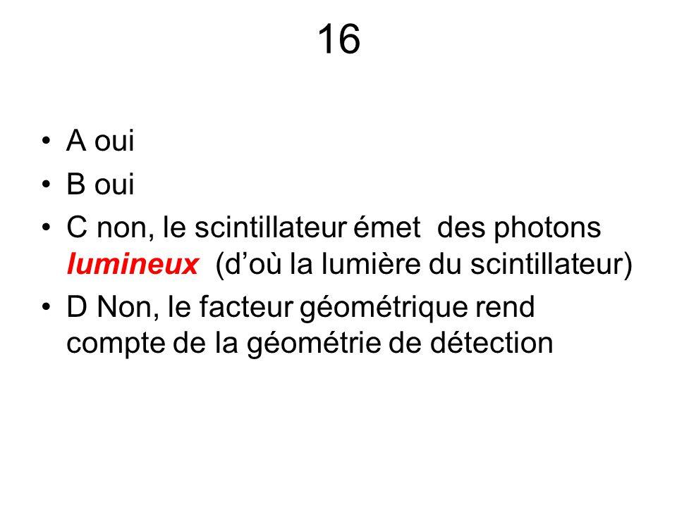 16 A oui. B oui. C non, le scintillateur émet des photons lumineux (d'où la lumière du scintillateur)