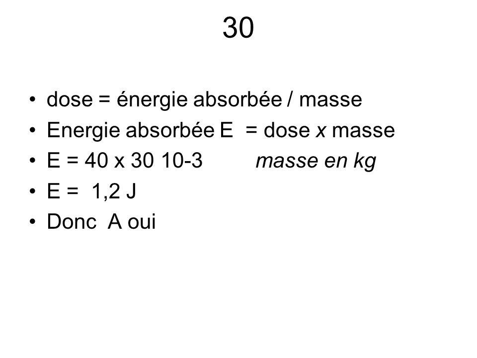 30 dose = énergie absorbée / masse Energie absorbée E = dose x masse