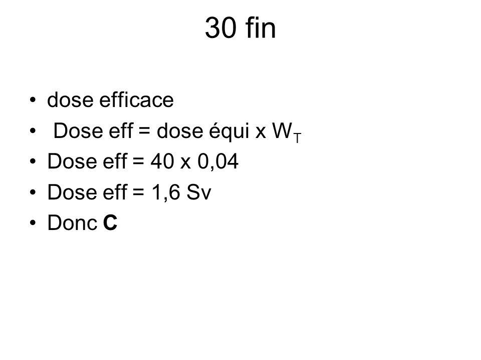 30 fin dose efficace Dose eff = dose équi x WT Dose eff = 40 x 0,04