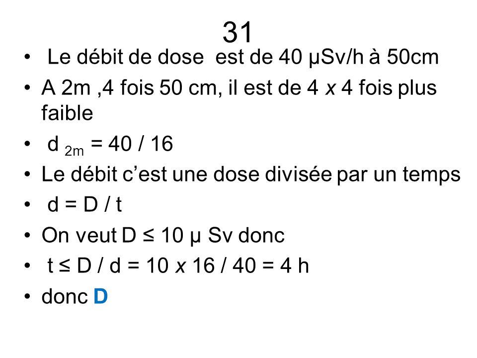 31 Le débit de dose est de 40 µSv/h à 50cm