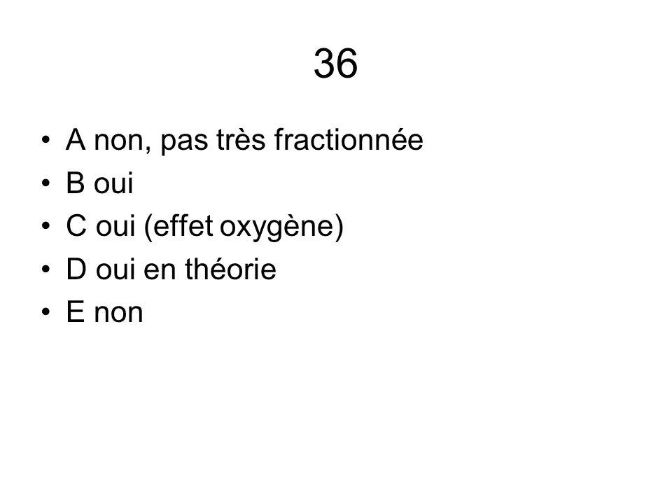 36 A non, pas très fractionnée B oui C oui (effet oxygène)
