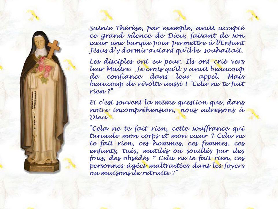 Sainte Thérèse, par exemple, avait accepté ce grand silence de Dieu, faisant de son cœur une barque pour permettre à l'Enfant Jésus d'y dormir autant qu'il le souhaitait.