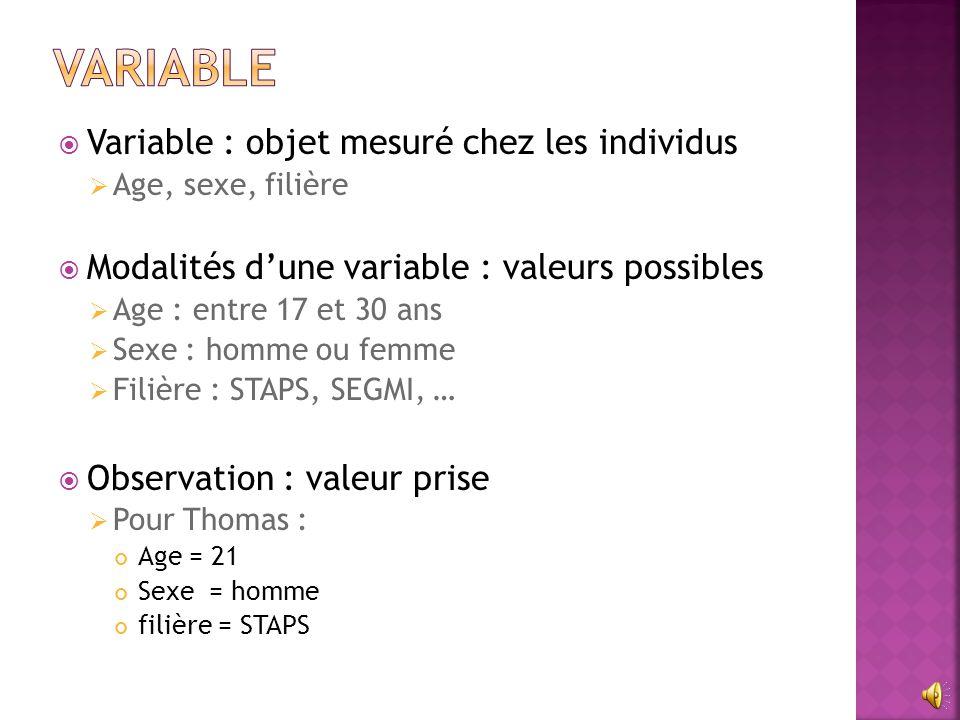 Variable Variable : objet mesuré chez les individus