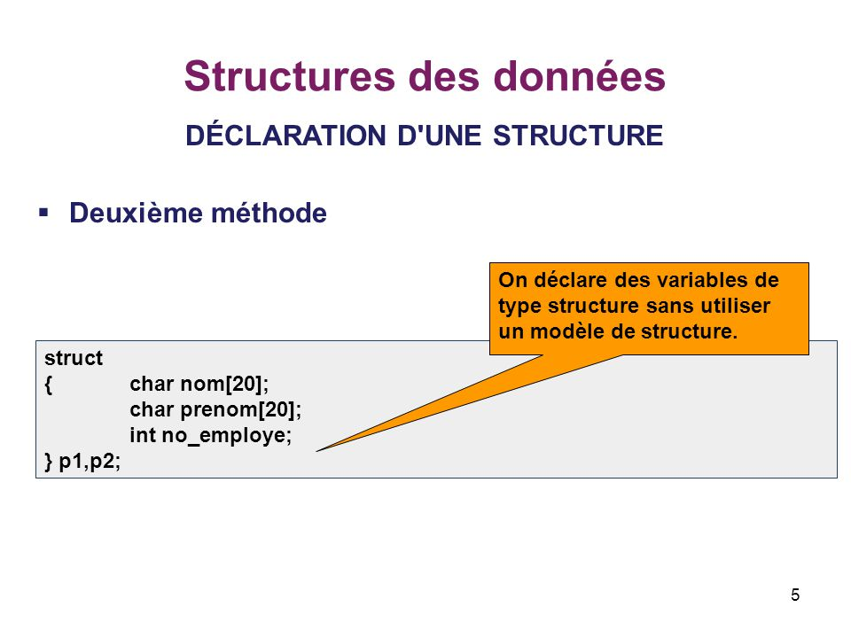 Structures des données
