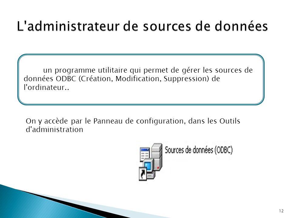 L administrateur de sources de données