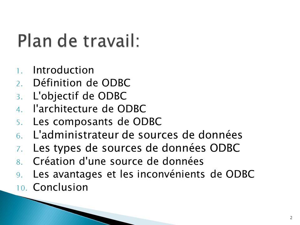 Plan de travail: L administrateur de sources de données