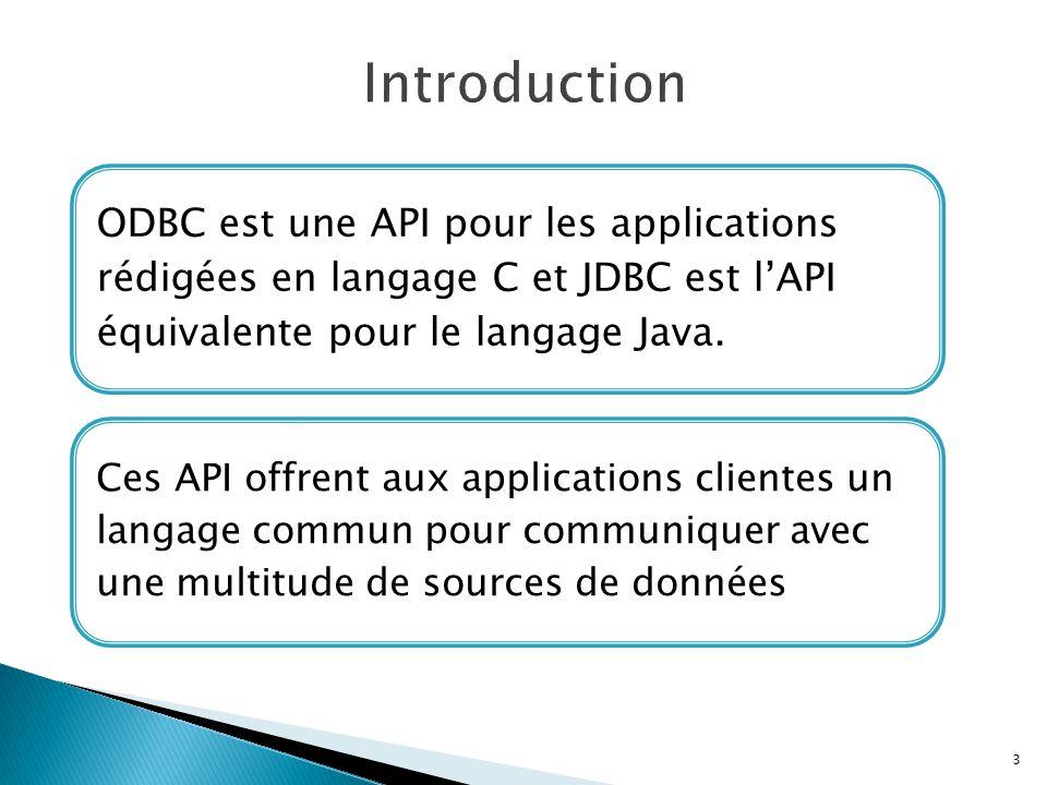 Introduction ODBC est une API pour les applications rédigées en langage C et JDBC est l'API équivalente pour le langage Java.