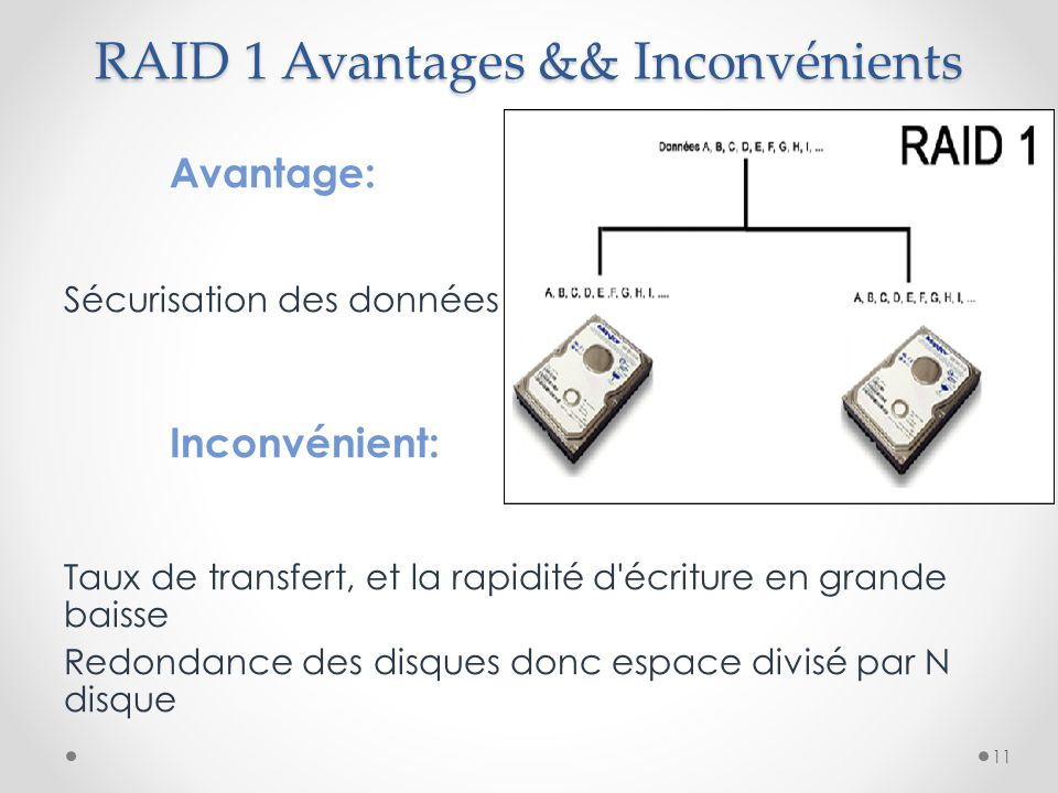 RAID 1 Avantages && Inconvénients