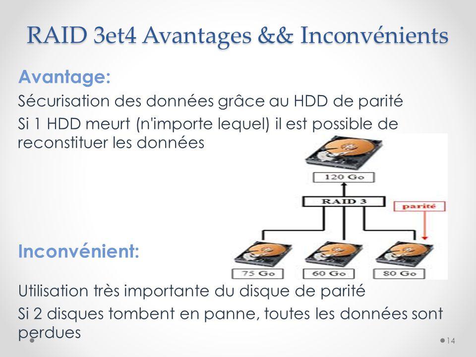 RAID 3et4 Avantages && Inconvénients