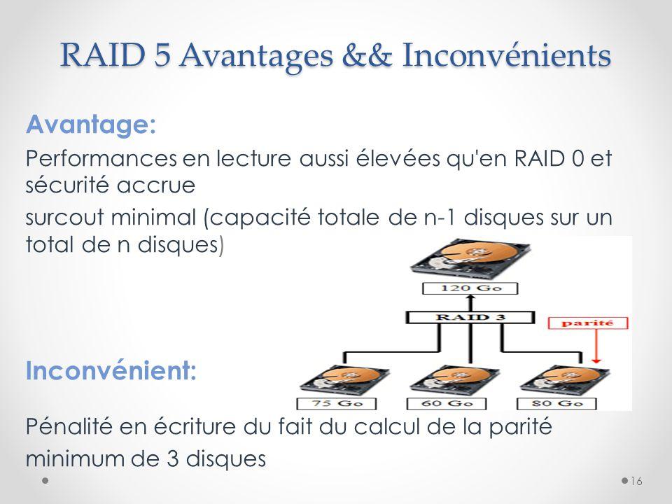 RAID 5 Avantages && Inconvénients