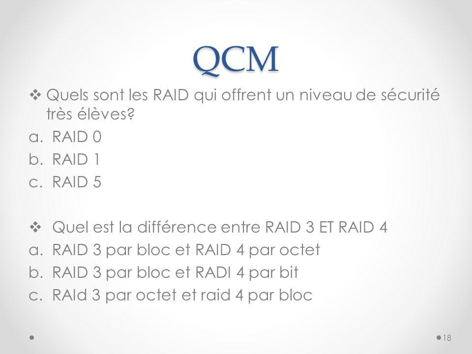 QCM Quels sont les RAID qui offrent un niveau de sécurité très élèves