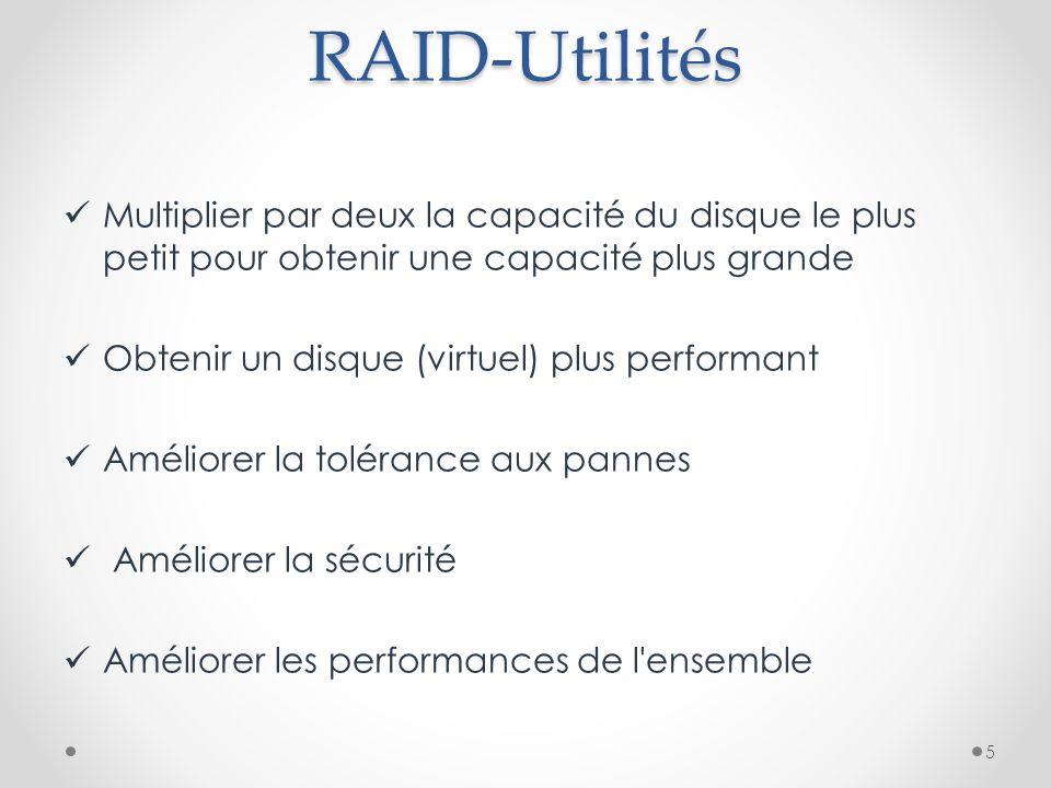 RAID-Utilités Multiplier par deux la capacité du disque le plus petit pour obtenir une capacité plus grande.