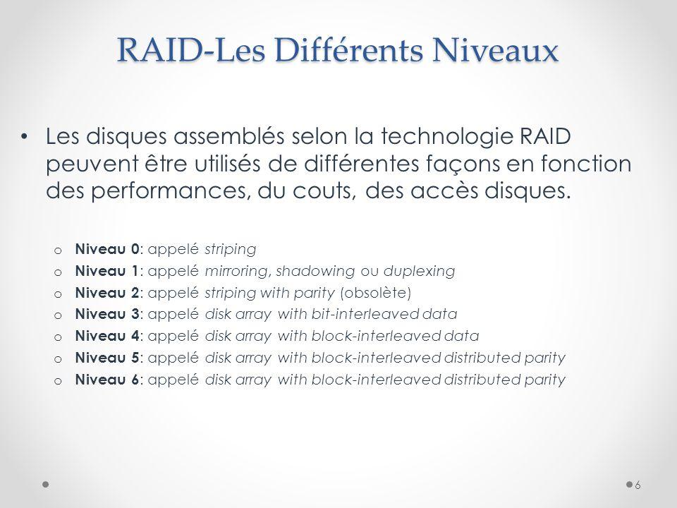 RAID-Les Différents Niveaux