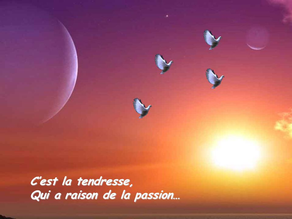 C'est la tendresse, Qui a raison de la passion…