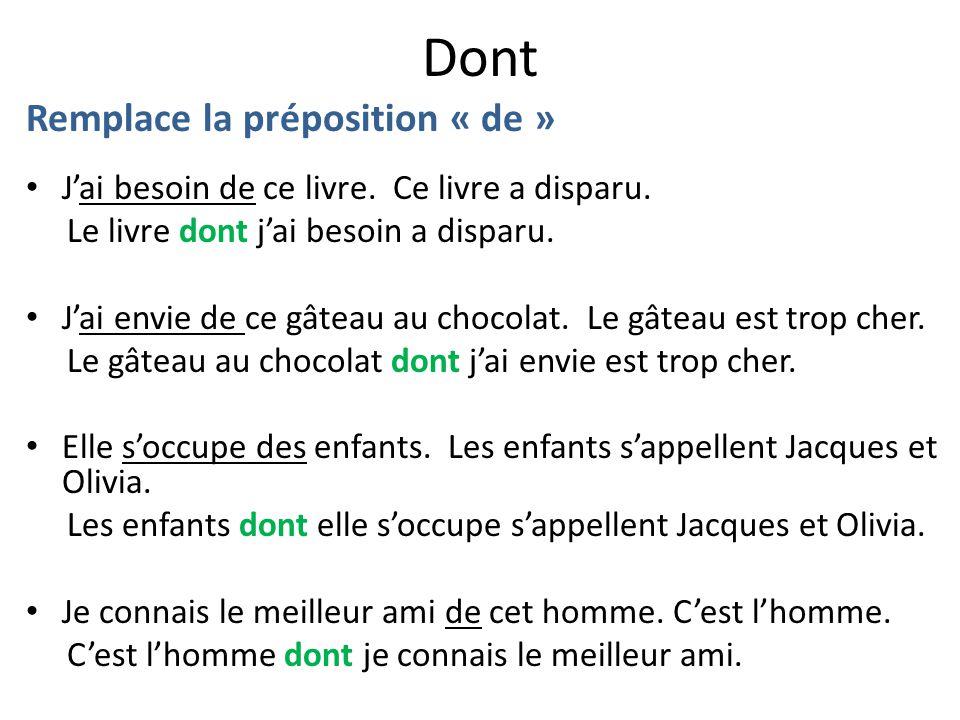 Dont Remplace la préposition « de »