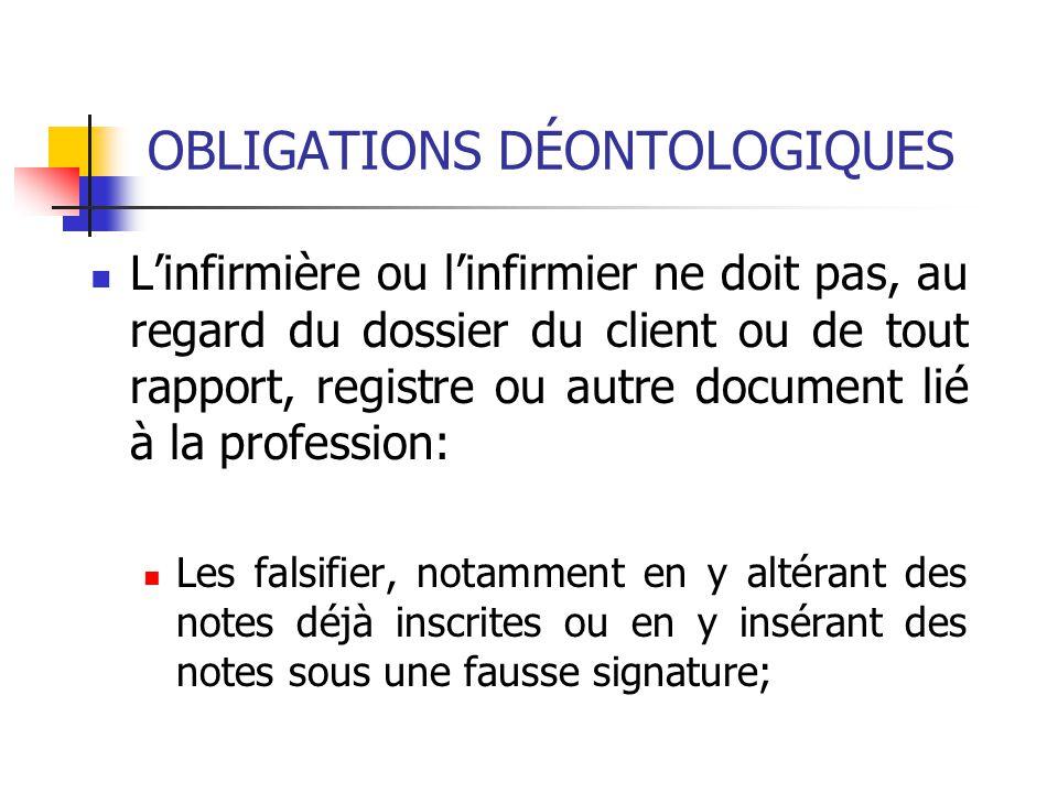 OBLIGATIONS DÉONTOLOGIQUES