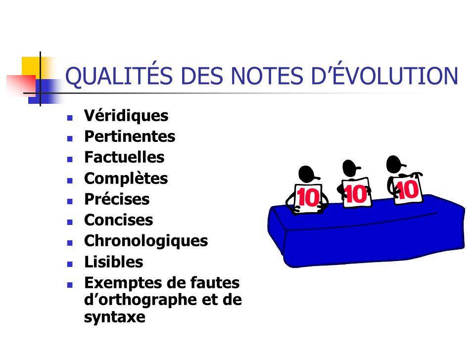 QUALITÉS DES NOTES D'ÉVOLUTION