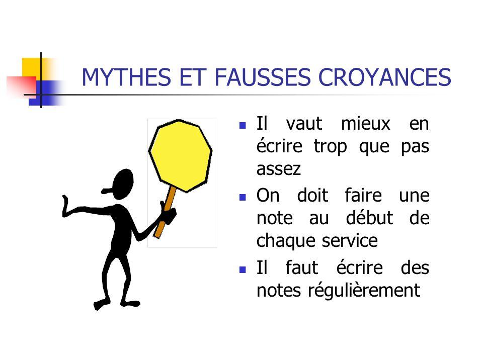 MYTHES ET FAUSSES CROYANCES