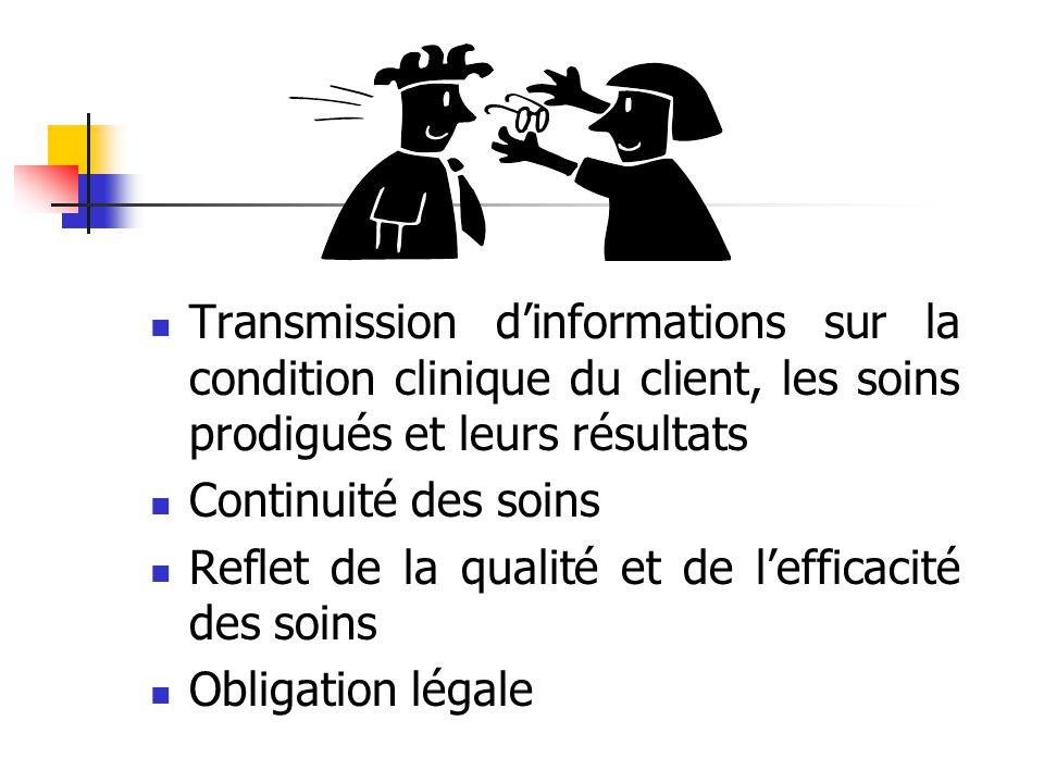 Transmission d'informations sur la condition clinique du client, les soins prodigués et leurs résultats