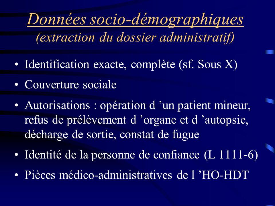 Données socio-démographiques (extraction du dossier administratif)