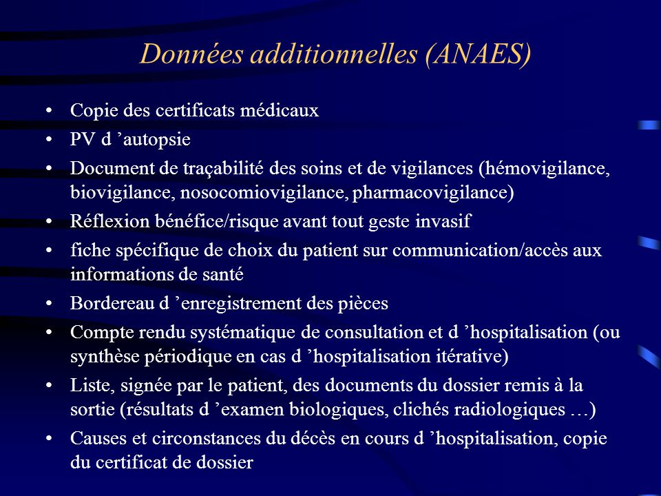Données additionnelles (ANAES)