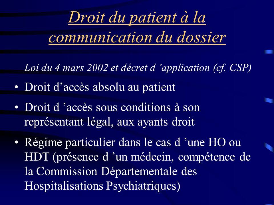 Droit du patient à la communication du dossier