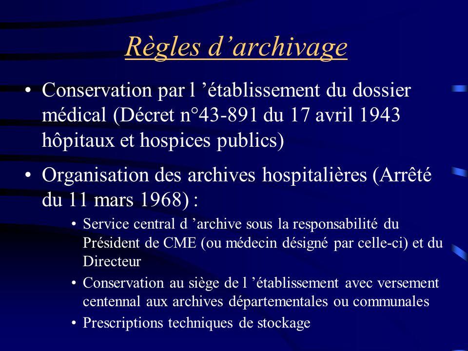 Règles d'archivage Conservation par l 'établissement du dossier médical (Décret n°43-891 du 17 avril 1943 hôpitaux et hospices publics)