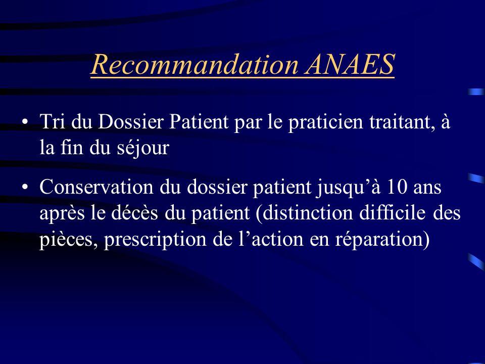 Recommandation ANAES Tri du Dossier Patient par le praticien traitant, à la fin du séjour.