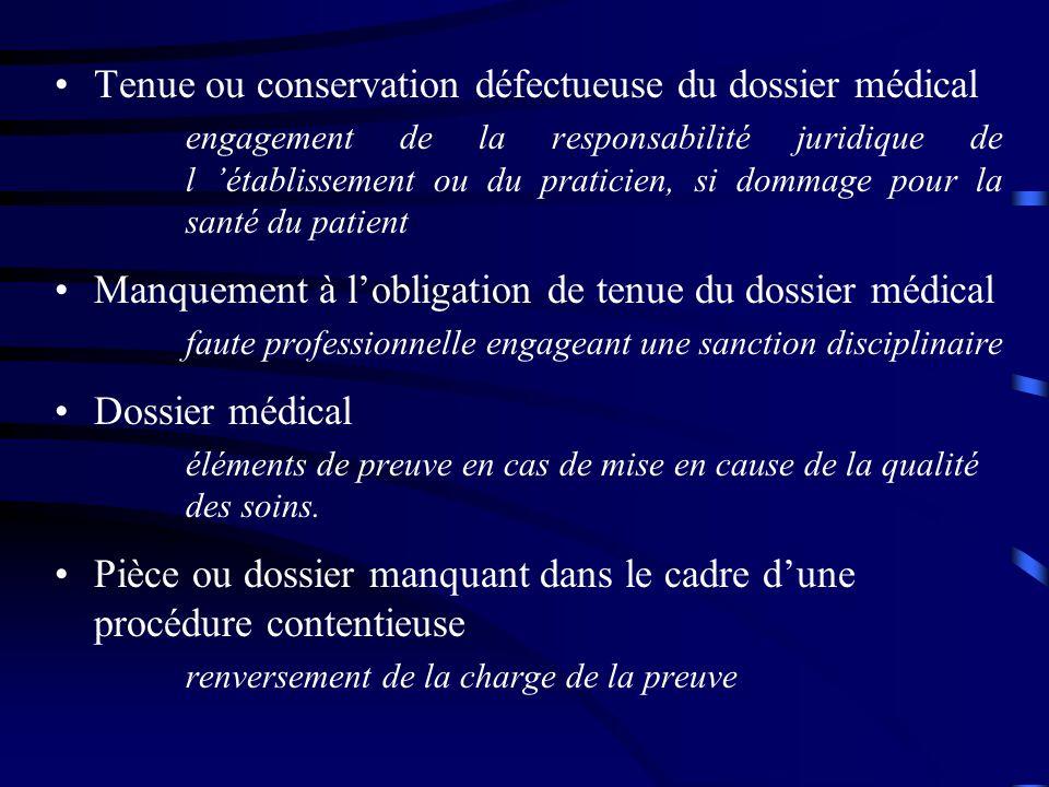 Tenue ou conservation défectueuse du dossier médical