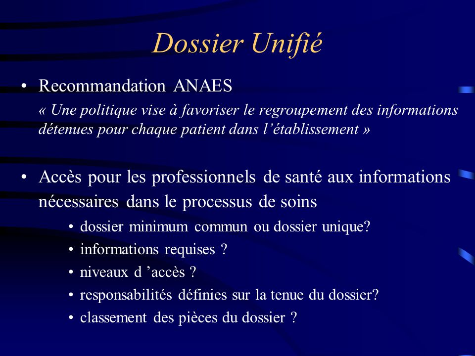 Dossier Unifié Recommandation ANAES