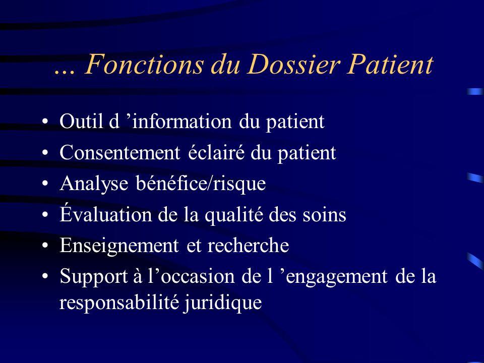 … Fonctions du Dossier Patient