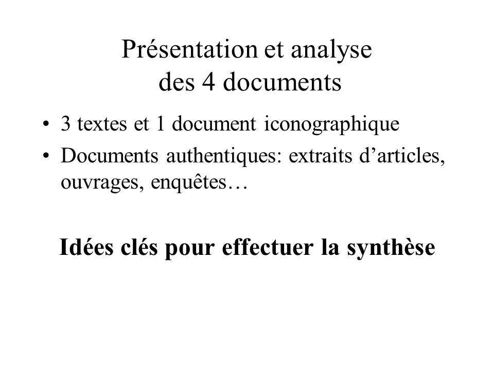 Présentation et analyse des 4 documents