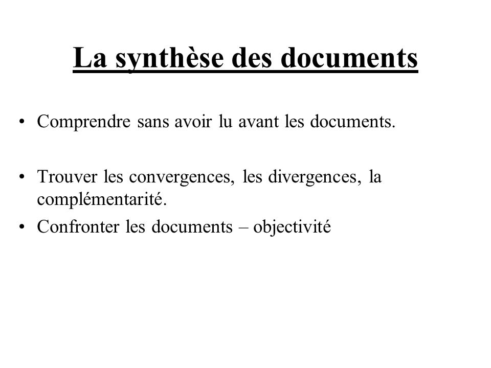 La synthèse des documents